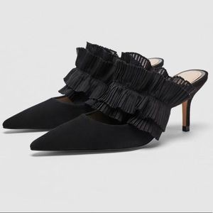 Zara black leather mules with ruffles size 36